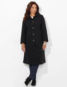 Elegant Wool Coat | Catherines Long and lean, this beautiful, wool coat is sure to keep you cozy and warm all winter long. Princess seams create a flattering fit. Buttonfront. Long sleeves. Side pockets. Polyester lining. Catherines jackets are styled exclusively for the plus size woman. #catherines #plussize #plussizefashion #coat #fallfashion