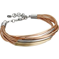 Fossil Mini Leather Corded Bracelet Brown/Silver/Rose Gold/Gold - Zappos.com Free Shipping BOTH Ways