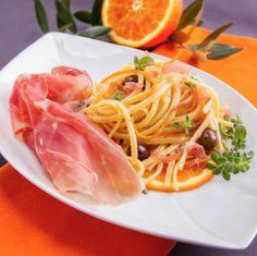 Linguine à l'orange,olives Cailletieret jambon de Parme