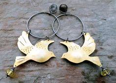 Flying Sun Bird || brass birds on darkened silver hoops with leaf posts || long shoulder duster earrings (6283) Sterling Silver Hoops, Silver Hoop Earrings, Drop Earrings, Pink Gemstones, Lemon Quartz, Feather Necklaces, Copper Jewelry, Chandelier Earrings, Dangles