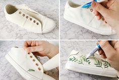 Live it .: Make it: Embroidered Palm Leaf Trainers Embroidery Sneakers, Hat Embroidery, Painted Sneakers, Painted Shoes, Shoe Crafts, Custom Shoes, Diy Clothes, Trainers, Fashion Shoes
