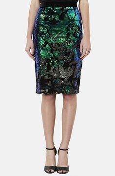 topshop Sequin Velvet Pencil Skirt from @Nordstrom