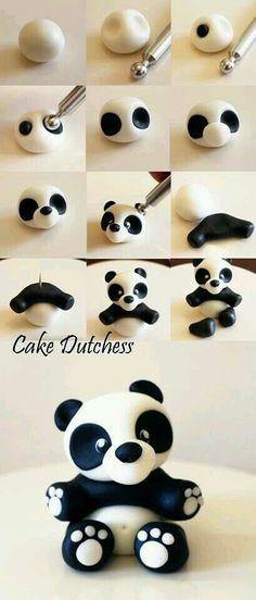 Panda fondant topper