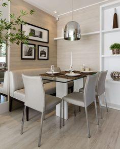 Ideia para mesa e assentos de sala de jantar, utilizando banco em um dos lados.