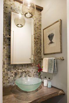 Amanda Webster Design: Coastal Eclectic Powder Bathroom Interior Design (House 1) / Photo: Neil Rashba