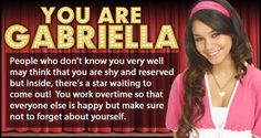 Which High School Musical Character Are You? - I got Gabriella Montez
