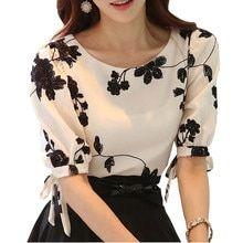 Embroidered Shirt Women Summer Tops Floral Black White Slim Chiffon Blouse Brand Quality Plus Size Casual Bow Half Sleeve Shirt – 2019 - Chiffon Diy Chiffon Shirt, Print Chiffon, Chiffon Tops, White Chiffon, Vestidos Retro, Half Sleeve Shirts, Mode Style, Trendy Dresses, Blouse Designs
