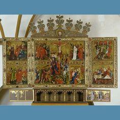 Hochaltar der Antoniterkirche in Tempzin. Holz farbig gefasst, Wismar, 1411, Breite: 410 cm