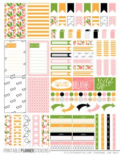 Kate Spade Floral Free Printable Planner stickers for the classic size Happy Planner.  Includes 2 full pages of planner stickers.