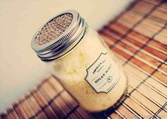 Homemade Sugar Scrub: 1-1/2 cups sugar (I use white, but could also use brown), 1/4 cup oil (I prefer olive oil), essential/massage oil to scent