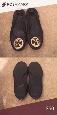 Tory Burch Reva. Black and gold. TB flat. Tory Burch Shoes Flats & Loafers