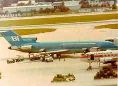 Braniff International B727-200 prepares for departure from Tampa International Airport April 1978