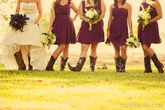 southern country weddings | country girl country wedding bride bridesmaids boots flowers