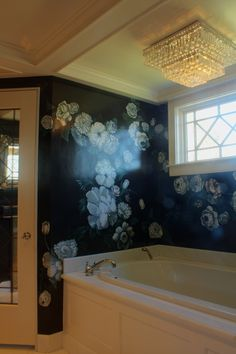 Lush White Flower Mural on High Gloss Black Background in Master Bath Flower Mural, Sustainable Practices, Wall Finishes, Mural Painting, Surface Design, Black Backgrounds, High Gloss, White Flowers, Master Bath