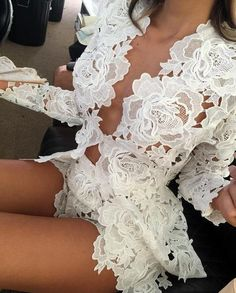 Womens Fashion - Womens Crochet Lace Two Piece Shorts Jacket Blazer Sleeved Bodycon Clubwear Lingerie Chic, Jolie Lingerie, Wedding Lingerie, Luxury Lingerie, Club Outfits, Sexy Outfits, Fashion Outfits, Womens Fashion, Party Outfits