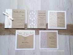 Square vintage wedding invitations by White Cherry Invitations