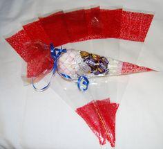 Zellophan-Beutel / Spitztüten, für Feierlichkeiten, 37 x 18 cm, 45 Mikrometer, transparent mit rotem Muster, 25 Stück: Amazon.de: Bürobedarf & Schreibwaren