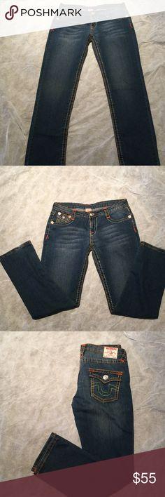 True Religion jeans TRUE RELIGION JOHNNY SUPER T OLD MULTI THICK STITCH LOW WOMENS JEANS True Religion Jeans Straight Leg