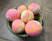 Ovella Wool Dryer Balls: The Doces Tye Dye Collection set of Three (3) bright, colorful, pink, purple, teal, reusable, yellow, orange - pinned by pin4etsy.com