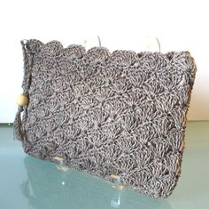 Vintage Taupe Crocheted Straw Envelope Style Clutch Bag by TheOldBagOnline on Etsy