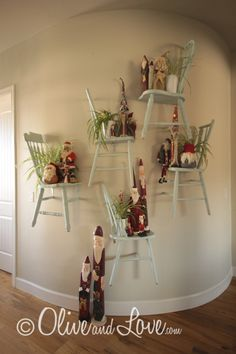chairs cut in half for great display shelves
