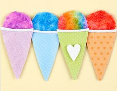 faux snowcones - another great idea for a bulletin board that my students would love.