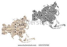 Sketch Asia letter text continent, Asia word - in the shape of the continent, Map of continent Asia - brown and black vector illustration Map Of Continents, Asia, Sketch, Shapes, Stock Photos, Lettering, Brown, Illustration, Image