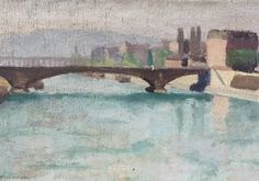 French river side  painting.1920 by Albanegalery on Etsy