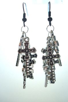 BNWOT Silver Tone and Black Key Crosses Cluster Dangle Drop Earrings found at outofthefireuk on ebay.co.uk