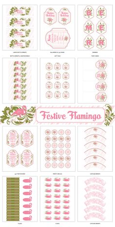 Noël flamant rose décorations de fête imprimables par HelloMySweet Plus