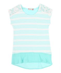 Look at this Speechless Aqua Stripe Lace Hi-Low Tee on #zulily today!