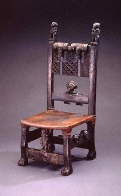 Africa |Chair from the Chokwe people of DR Congo | Wood, leather and brass | 19th century