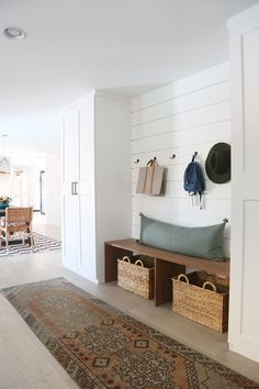 Just off the dining roomin the Gentry project house, andnext to the office we showed you last week, is a casual family room and mudroom space. Considering these rooms used to be an exterior workshop, I think these spaces turned out beautifully and help this house flow SO much better! If I were the new …