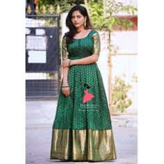 Butti Green and Golden Wedding Gown Gown Party Wear, Party Wear Lehenga, Party Gowns, Wedding Gowns, Fish Cut Gown, South Fashion, Indian Wedding Fashion, Indian Fashion, Gown With Jacket