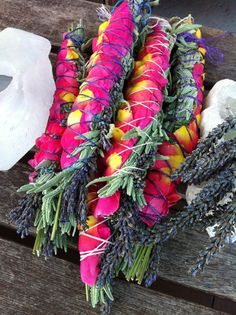 smudge sticks...lavender, sage and rose petals...
