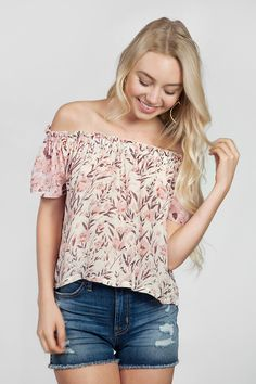 Chan Luu Off Shoulder Top in Evening Sand Mix