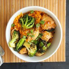 Rice made of butternut squash - topped with a delicious teriyaki chicken and broccoli. Gluten-free!