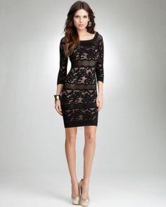 bebe Off Shoulder Lace Stripe Dress