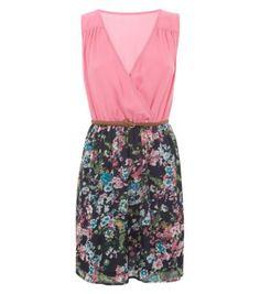 Madam Rage Pink Floral Print Wrap Front Belted Skater Dress