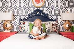 coral and navy girls room | anna spiro wallpaper