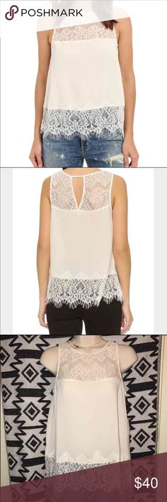 """🎉Host Pick🎉 BB Dakota- Ivory Lace Top Lightweight crepe blouse by bb Dakota has an elegant lacing yoke and hem. Scalloped hemline and V cutout in back. Sleeveless. This top will make you effortlessly super trendy!  Brand NWT  Size : S (2-4), size guide: bust 34-35, waist 26-27, hips 37/38 Color : Vanilla  Fabric : crepe, shell 100% polyester, trim 100% nylon   Care: hand wash or dry clean  (there's no care label) Measurements: length 22.5"""" (from shoulder to end of lace at hem) BB Dakota…"""