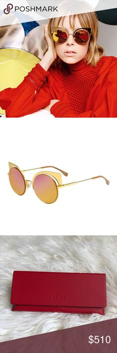 Fendi Eyeshine Runway Mirrored Cutout sunglasses Brand NEW! Round mirrored iridescent lenses in Gold. Cutout inset at frame front. Logo-embossed temples.  100% UVA/UVB protection. As seen on celebrities Fendi Accessories Sunglasses