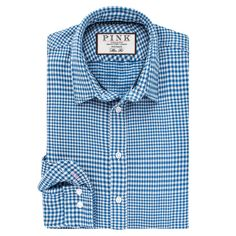 Beaumont Check Slim Fit Button Cuff Shirt by Thomas Pink