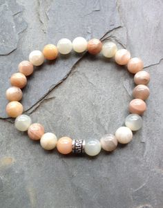 Genuine Multi-colored Moonstone Bracelet w/ Sterling Silver Charm
