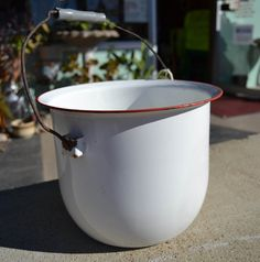 White and Red Enamelware Bucket Planter Vintage by EagerlySought