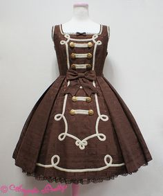 Lolita Fashion // Angelic Pretty Melty Whip Chocolate JSK Dress // Ribbon Braid Chocolate Buttons Ribbons Bows Lace Brown White Gold Military Sweet Classic Lolita