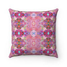 Art Pillow / Pattern Pillow / Pink Pillow / Square Pillow / Accent Pillow / Maximalism Pillow / Boho Throw Pillow / Couch Pillow