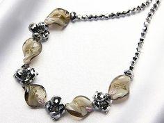 ハンドメイド 1円 ITALY製ベネチアングラスネックレス144グレー訳あり Handmade necklace ¥1yen 〆04月07日