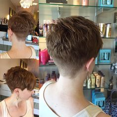 Clippered back with short textured crown Girls Short Haircuts, Short Haircut Styles, Short Hairstyles For Women, Haircut For Older Women, Short Hair Cuts For Women, Short Hair Back, Beautiful Haircuts, Red Hair, Hair Beauty