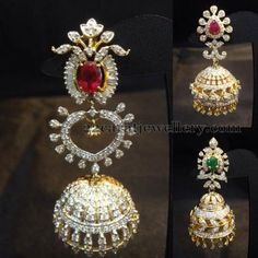 Jewellery Designs: Diamond Jhumkas Collection by SBJ Diamond Jhumkas, Gold Diamond Earrings, Gold Earrings Designs, Diamond Jewelry, Jhumka Designs, Diamond Studs, India Jewelry, Temple Jewellery, Gold Jewellery